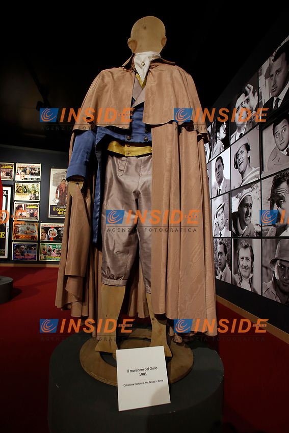 Stage clothes of the film Il marchese del Grillo during the opening of the actor Alberto Sordi''s house museum in Rome. In occasion of the centenary of his  birth, the villa in the heart of Rome, where he lived from 1959 to death, was opened to the public, becoming a house-museum. The house still contains thousand of objects belonged to the actor. In the garden two more tensile structures were added, containing stage clothes, posters of his films, photos and much more. <br /> Rome (Italy), September 15th 2020<br /> Photo Samantha Zucchi Insidefoto