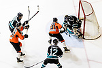 Cathay Flyers Goalie Jasen Await (R) makes a save on Jordan So of HK Tigers (C) during the Mega Ice Hockey 5s match between Cathay Flyers and HK Tigers on May 04, 2018 in Hong Kong, Hong Kong. Photo by Marcio Rodrigo Machado / Power Sport Images