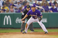 LSU Tigers third baseman Christian Ibarra #14 on defense against the Auburn Tigers in the NCAA baseball game on March 23, 2013 at Alex Box Stadium in Baton Rouge, Louisiana. LSU defeated Auburn 5-1. (Andrew Woolley/Four Seam Images).