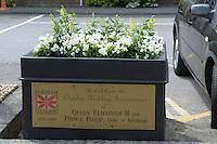 Summer flower display to celebrate the Golden Wedding Anniversary of Queen Elizabeth II & Prince Philip, Duke of Edinburgh, in Farnham, Surrey.