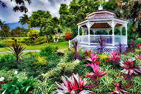 Gardens with gazebo at Maui Tropical Plantation. Maui. Hawaii