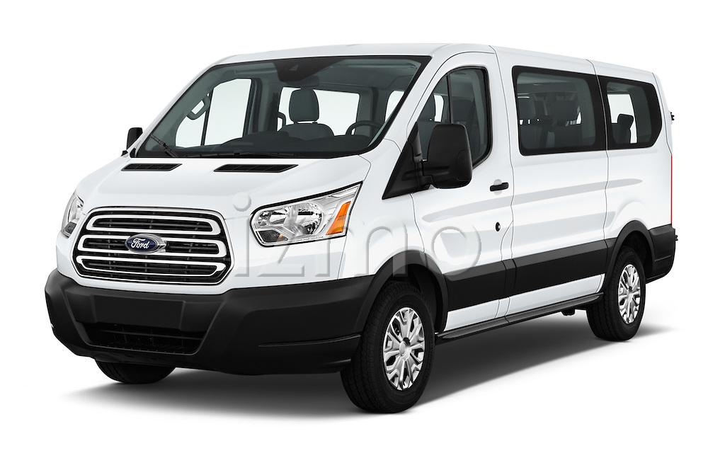 2016 Ford Transit 150-XLT-Low-Roof 4 Door Passenger Van Angular Front stock photos of front three quarter view