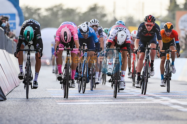 Diego Ulissi (ITA) UAE Team Emirates outsprints Maglia Rosa Joao Almeida (POR) Deceuninck-Quick Step and Patrick Konrad (AUT) Bora-Hansgrohe to win Stage 13 of the 103rd edition of the Giro d'Italia 2020 running 192km from Cervia to Monselice, Italy. 16th October 2020.  <br /> Picture: LaPresse/Marco Alpozzi | Cyclefile<br /> <br /> All photos usage must carry mandatory copyright credit (© Cyclefile | LaPresse/Marco Alpozzi)