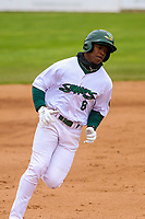 Beloit Snappers outfielder Lazaro Armenteros (8) rounds third base during a Midwest League game against the Quad Cities River Bandits on May 20, 2018 at Pohlman Field in Beloit, Wisconsin. Beloit defeated Quad Cities 3-2. (Brad Krause/Four Seam Images)
