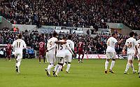 Saturday 2nd March 2013<br /> Pictured: (L-R) Pablo Hernandez, Luke Moore, Wayne Routledge, Jonathan de Guzman, Ashley Williams, Ki Sung-Yueng.<br /> Re: Barclays Premier Leaguel, Swansea  v Newcastle at the Liberty Stadium in Swansea.