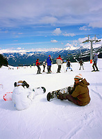 Snowboarding and Downhill Skiing on Whistler Mountain, Whistler Ski Resort, BC, British Columbia, Canada