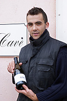 Hugo Carneiro. La Cave - the wine cellar. Chateau des Erles. In Villeneuve-les-Corbieres. Fitou. Languedoc. France. Europe. Bottle.