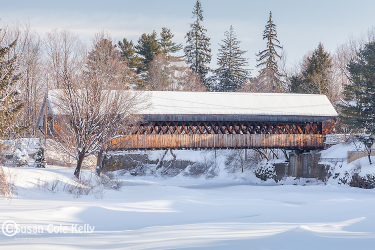 The Middle Bridge spans the Ottaquechee River in Woodstock, VT, USA