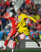 02 May 2009: Columbus Crew defender Eric Brunner #23 and Toronto FC forward Chad Barrett #19 in action at BMO Field in a game between the Columbus Crew and Toronto FC. .The game ended in a 1-1 draw...