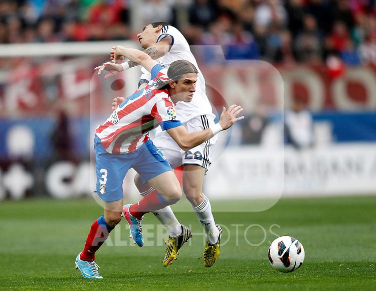Real Madrid's Di Maria Atletico's Filipe Luis during La Liga BBVA match. April 27, 2013.(ALTERPHOTOS/Alconada)