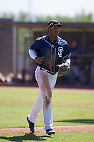 San Diego Padres first baseman Jason Pineda (30) jogs off the field between innings during an Instructional League game against the Texas Rangers on September 20, 2017 at Peoria Sports Complex in Peoria, Arizona. (Zachary Lucy/Four Seam Images)