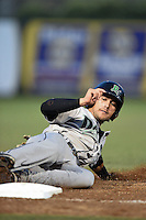 Dayton Dragons shortstop Alex Blandino (2) slides into third during a game against the South Bend Silver Hawks on August 20, 2014 at Four Winds Field in South Bend, Indiana.  Dayton defeated South Bend 5-3.  (Mike Janes/Four Seam Images)