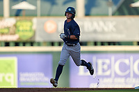 Tampa Tarpons Benjamin Cowles (28) rounds the bases after hitting a home run during Game Two of the Low-A Southeast Championship Series against the Bradenton Marauders on September 22, 2021 at LECOM Park in Bradenton, Florida.  (Mike Janes/Four Seam Images)