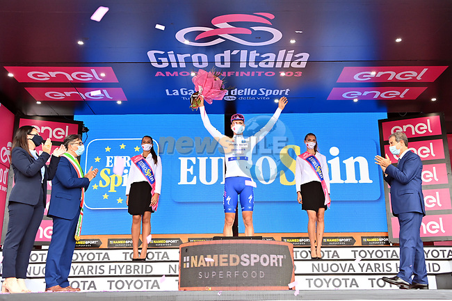 Race leader Joao Almeida (POR) Deceuninck-Quick Step also retains the young riders Maglia Bianca at the end of Stage 4 of the 103rd edition of the Giro d'Italia 2020 running 140km from Catania to Villafranca Tirrena, Sicily, Italy. 6th October 2020.  <br /> Picture: LaPresse/Gian Mattia D'Alberto | Cyclefile<br /> <br /> All photos usage must carry mandatory copyright credit (© Cyclefile | LaPresse/Gian Mattia D'Alberto)