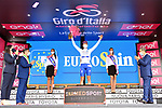 Race leader Joao Almeida (POR) Deceuninck-Quick Step also retains the young riders Maglia Bianca at the end of Stage 4 of the 103rd edition of the Giro d'Italia 2020 running 140km from Catania to Villafranca Tirrena, Sicily, Italy. 6th October 2020.  <br /> Picture: LaPresse/Gian Mattia D'Alberto   Cyclefile<br /> <br /> All photos usage must carry mandatory copyright credit (© Cyclefile   LaPresse/Gian Mattia D'Alberto)