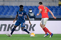 18th February 2021, Rome, Italy;  Bukayo Saka of Arsenal FC coevered by Jan Vertonghen of Benfica during the UEFA Europa League round of 32 Leg 1 match between SL Benfica and Arsenal at Stadio Olimpico, Rome, Italy on 18 February 2021.