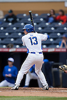 Ryan Day (13) of the Duke Blue Devils at bat against the California Golden Bears at Durham Bulls Athletic Park on February 20, 2016 in Durham, North Carolina.  The Blue Devils defeated the Golden Bears 6-5 in 10 innings.  (Brian Westerholt/Four Seam Images)