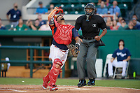 Clearwater Threshers catcher Deivy Grullon (10) tracks a popup in front of umpire Jose Navas during the Florida State League All-Star Game on June 17, 2017 at Joker Marchant Stadium in Lakeland, Florida.  FSL North All-Stars defeated the FSL South All-Stars  5-2.  (Mike Janes/Four Seam Images)