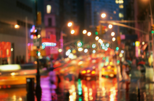 AVAILABLE FOR COMMERCIAL OR EDITORIAL LICENSING FROM GETTY IMAGES.  Please go to www.gettyimages.com and search for image # 200406226-001.<br /> <br /> Soft Focus Rainy New York Street Scene, Lower Broadway Viewed from Union Square at Dusk, Lower Manhattan, New York City, New York State, USA