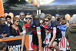 BMC Racing Team arrive at sign on before the start of the 99th edition of Milan-Turin 2018, running 200km from Magenta Milan to Superga Basilica Turin, Italy. 10th October 2018.<br /> Picture: Eoin Clarke | Cyclefile<br /> <br /> <br /> All photos usage must carry mandatory copyright credit (© Cyclefile | Eoin Clarke)