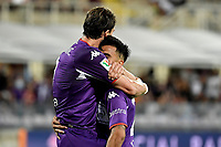 Dusan Vlahovic of ACF Fiorentina celebrates with Nicolas Gonzalez after scoring the goal of 1-0 during Italy cup football match between ACF Fiorentina and Cosenza calcio at Artemio Franchi stadium in Florence (Italy), August 13th, 2021. Photo Andrea Staccioli / Insidefoto