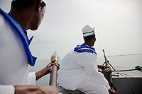 Somaliland Coast Guard patroling the waters off of Berbera. The coast guard relies on informants on shore  to monitor and alert the coast guard to suspicious activity along its shores.