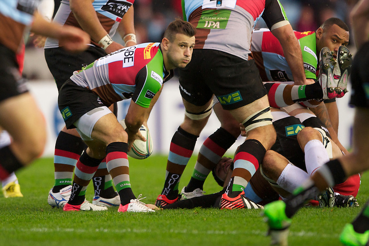 Danny Care of Harlequins passes during the Heineken Cup match between Harlequins and Biarritz Olympique Pays Basque at the Twickenham Stoop on Saturday 13th October 2012 (Photo by Rob Munro)
