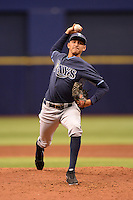 Tampa Bay Rays pitcher Henry Centeno (8) during an Instructional League game against the Boston Red Sox on September 25, 2014 at Tropicana Field in St. Petersburg, Florida.  (Mike Janes/Four Seam Images)