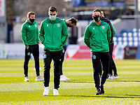 13th March 2021; Global Energy Stadium, Dingwall, Highland, Scotland; Scottish Premiership Football, Ross County versus Hibernian; Paul Hanlon of Hibernian and Scott Allan of Hibernian inspect the pitch before kick off