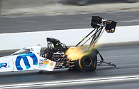 Feb 9, 2020; Pomona, CA, USA; NHRA top fuel driver Leah Pruett during the Winternationals at Auto Club Raceway at Pomona. Mandatory Credit: Mark J. Rebilas-USA TODAY Sports