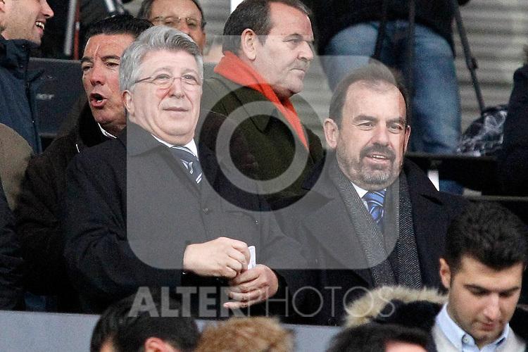 Getafe's President Angel Torres (r) and Atletico de Madrid's President Enrique Cerezo during La Liga match. February 14,2016. (ALTERPHOTOS/Acero)