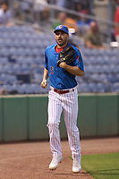 Philadelphia Phillies Matt Joyce (35), on rehab assignment with the Clearwater Threshers, jogs to the dugout during a game against the Dunedin Blue Jays on May 18, 2021 at BayCare Ballpark in Clearwater, Florida.  (Mike Janes/Four Seam Images)