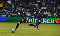 KANSAS CITY, KS - APRIL 23: Pedro Gallese #1 of Orlando City SC delivers a goal kick in the second half during a game between Orlando City SC and Sporting Kansas City at Children's Mercy Park on April 23, 2021 in Kansas City, Kansas.