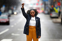 Summer Lee poses for a portrait on Penn Avenue in East Liberty on Wednesday January 9, 2019 in Pittsburgh, Pennsylvania. (Photo by Jared Wickerham/Pittsburgh City Paper)