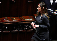 Il Ministro per le Riforme Costituzionali ed i Rapporti con il Parlamento Maria Elena Boschi vota durante la seduta comune di deputati e senatori per l'elezione del nuovo Presidente della Repubblica, alla Camera dei Deputati, Roma, 29 gennaio 2015.<br /> Italian Constitutional Reforms and Relations with Parliament Minister Maria Elena Boschi votes during a joint plenary session of senators and deputies to vote for the election of the new President, at the Lower Chamber, Rome, 29 January 2015.<br /> UPDATE IMAGES PRESS/Riccardo De Luca