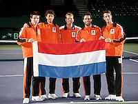 5-4-07, England, Birmingham, Tennis, Daviscup England-Netherlands, Dutch taem ltr: Igor Sijsling, Robin Haase, Captain Jan Siemerink, Raemon Sluiter and Rogier Wasen
