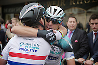 stage winner Mark Cavendish (GBR) hugs teammate Allesandro Petacchi (ITA) after the massive team effort they put in ultimately resulting in Cav's win<br /> <br /> 2013 Tour of Britain<br /> stage 7: Epsom to Guilford (155km)