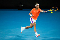 11th February 2021, Melbourne, Victoria, Australia; Rafael Nadal of Spain returns the ball during round 2 of the 2021 Australian Open on February 11 2020, at Melbourne Park in Melbourne, Australia.