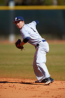 Butler Bulldogs second baseman Michael Hartnagel (4) during a game against the Indiana Hoosiers on March 6, 2016 at North Charlotte Regional Park in Port Charlotte, Florida.  Indiana defeated Butler 2-1.  (Mike Janes/Four Seam Images)