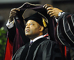 Keynote speaker Kase Lawal, CEO of CAMAC, is awarded an honorary doctorate at the Texas Southern University commencement Saturday May 16,2009.(Dave Rossman/For the Chronicle)