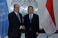 NEW YORK, UNITED STATES - OCTOBER 24: UN Secretary General Ban Ki-moon shakes hands with Prince of Monaco Albert II during a meeting at the United Nations Headquarters on October 24, 2016 in New York, United States<br /> <br /> People:  Prince of Monaco Albert II, Ban Ki-moon