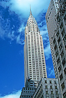 New York: Chrysler Building, 1930.  William Van Alen, Architect. Lexington at 42nd. Art Deco style. At one time, 2nd largest skyscaper in world. National Historic Landmark, 1976.  Photo
