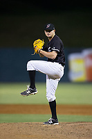 Kannapolis Intimidators relief pitcher Mike Morrison (24) in action against the Hickory Crawdads at Kannapolis Intimidators Stadium on April 22, 2017 in Kannapolis, North Carolina.  The Intimidators defeated the Crawdads 10-9 in 12 innings.  (Brian Westerholt/Four Seam Images)