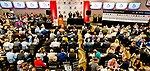 LOUISVILLE, KY - MAY 01: The Aristides Lounge was packs with connections for the entrants and media members for the Kentucky Derby Post Draw at Churchill Downs on May 1, 2018 in Louisville, Kentucky. (Photo by Scott Serio/Eclipse Sportswire/Getty Images)