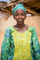 Fulani Girl at a bus stop near St Louis, Senegal