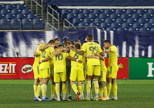 20th November 2020, Nashville, TN, USA;  Nashville SC players huddle together prior to kickoff of an MLS Cup Playoffs Eastern Conference Play-In game between Nashville SC and Inter Miami, November 20, 2020 at Nissan Stadium