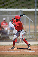 Washington Nationals catcher Jeyner Baez (14) at bat during a minor league Spring Training game against the St. Louis Cardinals on March 27, 2017 at the Roger Dean Stadium Complex in Jupiter, Florida.  (Mike Janes/Four Seam Images)