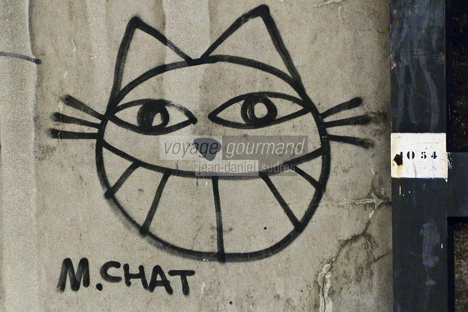 Europe/France/Ile de France/75013/Paris: Graffiti représentant un chat à la Gare d'Austerlitz