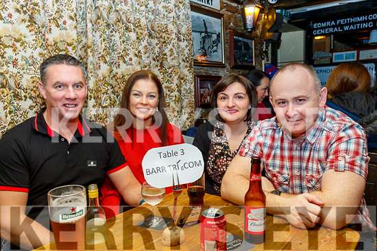 L-R Jason Sinnott, Michelle O'Halloran-Sinnott with Susanna&John Fitzgerald, pictured taking part in the Derryquay National school fundraising quiz in the Railway Tavern, Camp last Friday night.