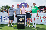 (L-R) Paul Scholes, Jeremy Renner, Tenniel Chu, Suzann Pettersen, and Wang Zhiwen at the 1st hole during the World Celebrity Pro-Am 2016 Mission Hills China Golf Tournament on 22 October 2016, in Haikou, China. Photo by Marcio Machado / Power Sport Images